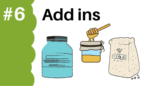 Graphic showing add ins (protein powders, honey, oats) to add to smoothies