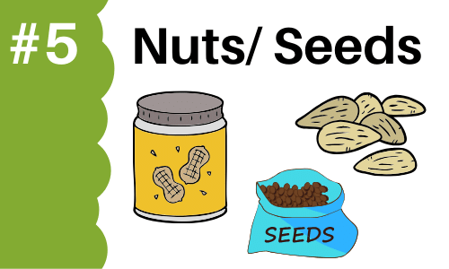 Graphic showing nuts and seeds to add to smoothies